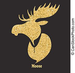 Golden moose head.Vector silhouette on black background