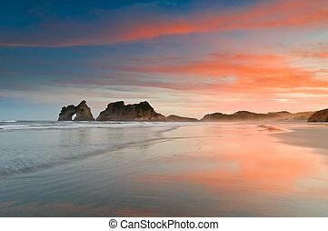 Golden morning at a beach