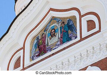 Golden mosaic icon on Cathedral in Tallinn, Estonia
