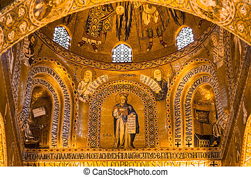 Golden mosaic in La Martorana church, Palermo, Italy - ...