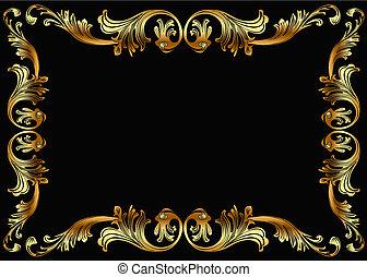 gold(en), motívum, keret, növényi, háttér
