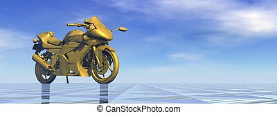 Golden motorbike - 3D render