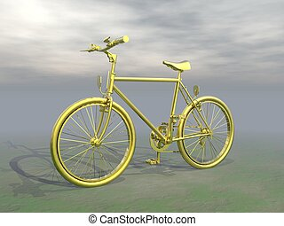 Golden mountain bike - 3D render