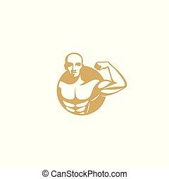 golden muscle man logo vector illustration. - golden muscle...
