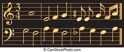 Golden Music - Detailed, gold music notes with treble and...