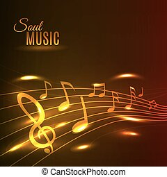 Golden music notes stave poster - Soul Music poster. Shining...