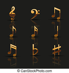 Golden musical icons set