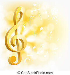 golden musical key with notes on yellow background