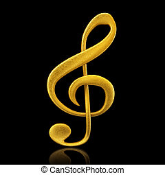 Golden musical note - 3d render