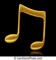 Golden musical note - 3d render