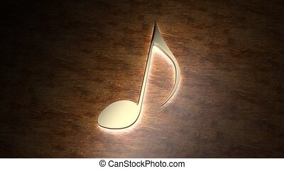 Golden musical note glows on the table. The magic of music. ...