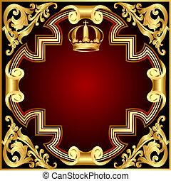 gold(en), muster, krone, vignette, abbildung, hintergrund, einladung