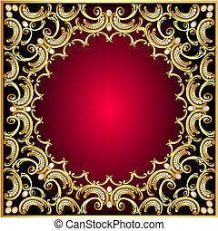gold(en), muster, rahmen, hintergrund, perle