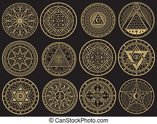 Golden mystery, witchcraft, occult, alchemy, mystical esoteric symbols