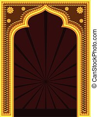 Golden Mythological Retro Frame Vector Illustration