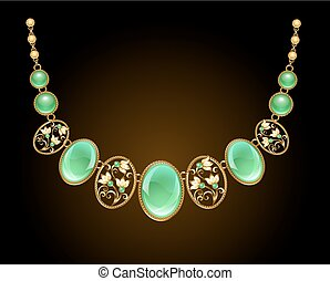 Golden necklace with chrysoprase