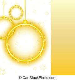 Golden Neon Christmas Ball on White Background