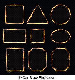 Golden neon shiny electric rectangle borders. Glisten round and oval banners