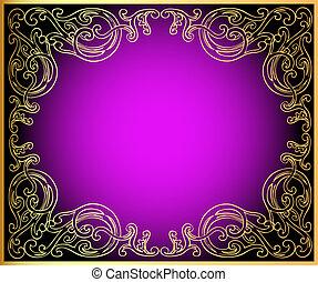 gold(en), nero, ornamento, fondo, lilla