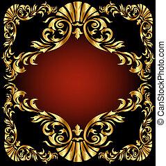 gold(en), nero, ornamento, fondo