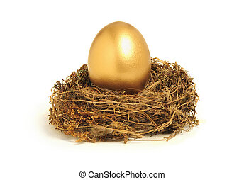 Golden nest egg representing retirement savings - Golden egg...
