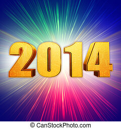 golden new year 2014 with rainbow shining rays - golden new ...