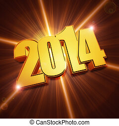 golden new year 2014 with shining rays over brown background