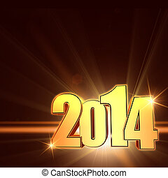 golden new year 2014 with shining rays, brown background