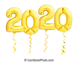 Golden New Year 2020 made of helium party balloons with golden ribbons isolated on white background