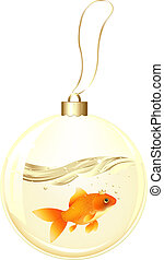 Golden New Year Ball With GoldFish