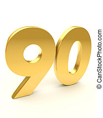 golden ninety number - isolated on white background