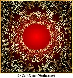 gold(en), noir, ornement, arrière-plan rouge