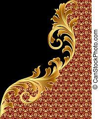 gold(en), noir, ornement, fond