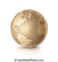 Golden North and South America world map 3D illustration