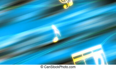 Golden Notes in Blue Abstract