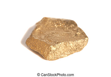 Golden nugget isolated on white background
