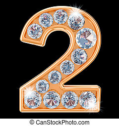 Golden number 2 with diamonds. 3D rendering