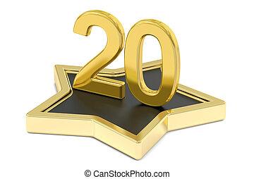golden number 20 on star podium, award concept. 3D rendering