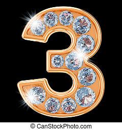 Golden number 3 with diamonds. 3D rendering