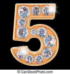 Golden number 5 with diamonds. 3D rendering
