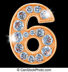 Golden number 6 with diamonds. 3D rendering