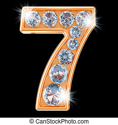 Golden number 7 with diamonds. 3D rendering