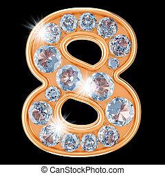 Golden number 8 with diamonds. 3D rendering