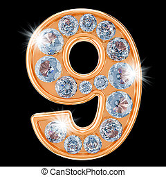 Golden number 9 with diamonds. 3D rendering