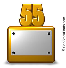 golden number fifty-five - number fifty-five on socket - 3d ...