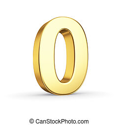 Golden number ZERO on white - 3D golden number 0 - isolated...