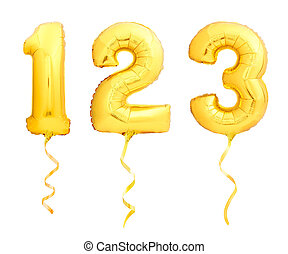 Golden numbers 1, 2, 3 made of inflatable balloons with ribbons isolated on white