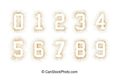 Golden numbers made of glitter isolated on white background