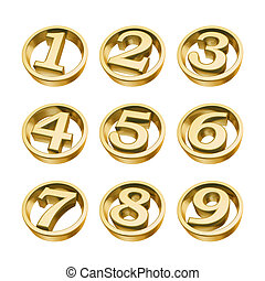 golden numbers of phone isolated on white background