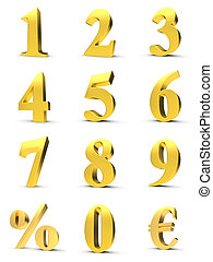 Golden numbers with euro and percent symbol